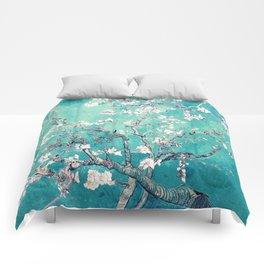 Vincent Van Gogh Almond Blossoms Turquoise Comforters