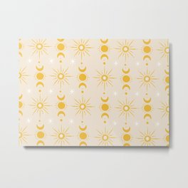 Yellow Sun & Moon Pattern Metal Print