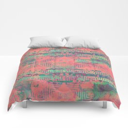 Abstract Coral and Aqua Tribal Comforters