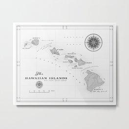 The Hawaiian Islands [Black & White] Map Print Metal Print