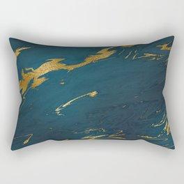 Teal Gold Marble Rectangular Pillow