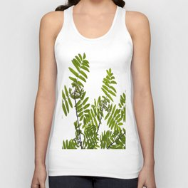 Green Rowan Leaves White Background #decor #society6 #buyart Unisex Tank Top
