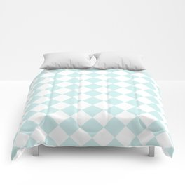 Diamonds - White and Light Cyan Comforters