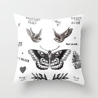 la Throw Pillows featuring Tattoo à la Harry by Kate & Co.