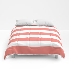 Congo pink - solid color - white stripes pattern Comforters