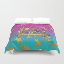 Gymnastics Live Your Dream with Pink to Blue Gradient  and Gold Stars Background Duvet Cover
