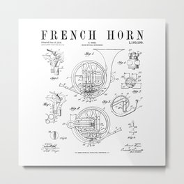 French Horn Old Vintage Antique Patent Drawing Print Metal Print