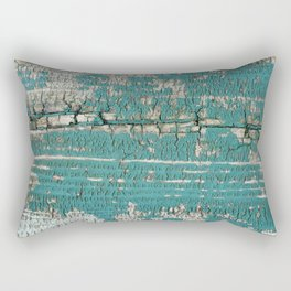 Rustic Wood Turquiose Paint Weathered Rectangular Pillow