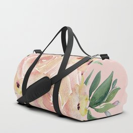 Wild Roses on Seashell Pink Watercolor Duffle Bag