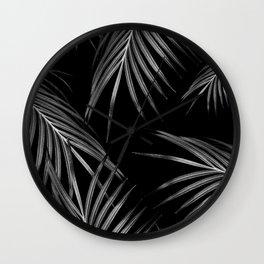 Silver Gray Black Palm Leaves Dream #1 #tropical #decor #art #society6 Wall Clock