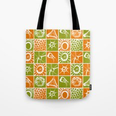 Microscopic Life Sillouetts Orange and Green Tote Bag
