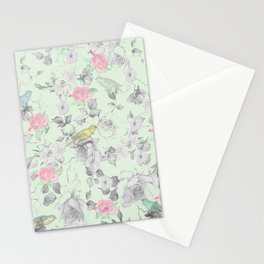 Vintage Pink White Mint Green Bird Floral Collage Stationery Cards