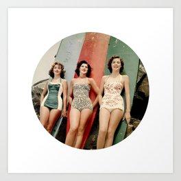 3 Girls on Surfboards Art Print