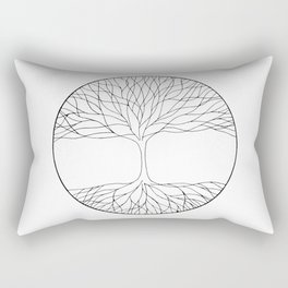 black and white minimalist tree of life line drawing Rectangular Pillow