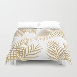 Gold palm leaves Duvet Cover