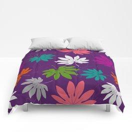 Purple tropical leaves Comforters