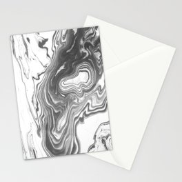 Katsuro - spilled ink marble paper map topography painting black and white minimal ocean swirl  Stationery Cards