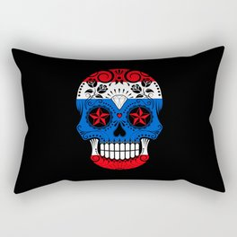 Sugar Skull with Roses and Flag of Thailand Rectangular Pillow