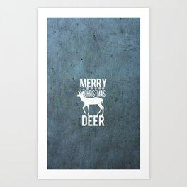 Merry Christmas Deer Textured  Art Print