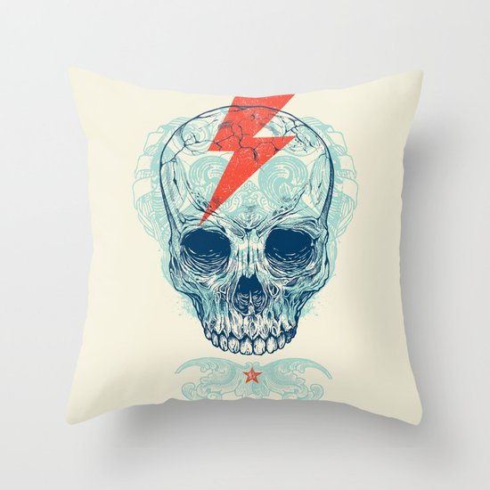Skull Bolt Throw Pillow