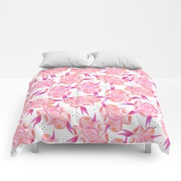 Hand painted pink coral black watercolor floral Comforters
