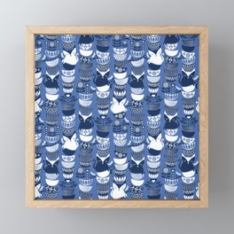 Swedish folk cats I // Indigo blue background Framed Mini Art Print