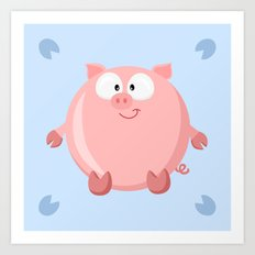 Pig from the circle series Art Print