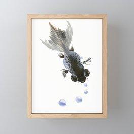 Black Fish, feng shui zen brush minimalist ink art design Framed Mini Art Print