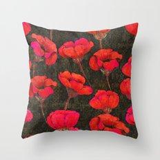 Poppybunch - Black Throw Pillow