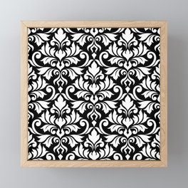 Flourish Damask Big Ptn White on Black Framed Mini Art Print