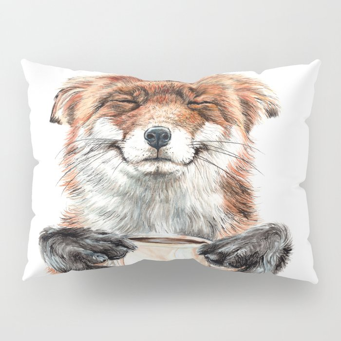 """"""" Morning fox """" Red fox with her morning coffee Pillow Sham"""
