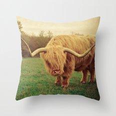 Scottish Highland Steer - regular version Throw Pillow