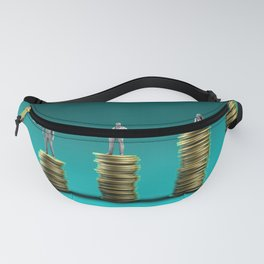 Finance Wealth Increase with Business People Standing on Chart of Gold Coins Fanny Pack