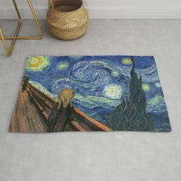 The Scream Starry Night Edvard Munch Vincent Van Gogh Rug