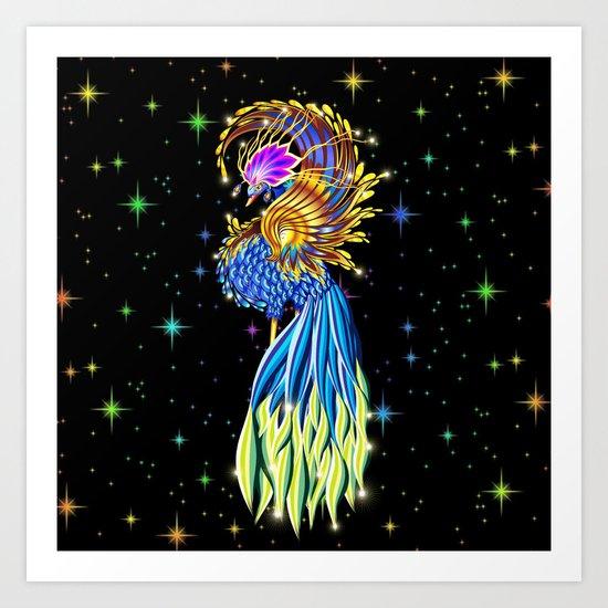 Blue and Golden Paradise Bird Art Print