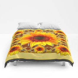 Brown & Yellow Sunflower Grey Art Comforters