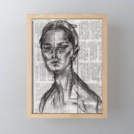 Alert - Charcoal on Newspaper Figure Drawing Framed Mini Art Print