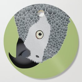 African Grey Parrot [ON MOSS GREEN] Cutting Board
