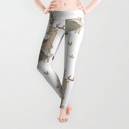 Girl and Deer - white Leggings