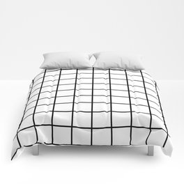 black and white grid pattern Comforters