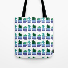 Potted succulent and cactus plant doodle pattern Tote Bag