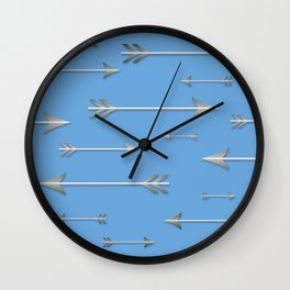 Silver arrows on blue Wall Clock