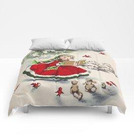 Vintage Christmas Girl Comforters