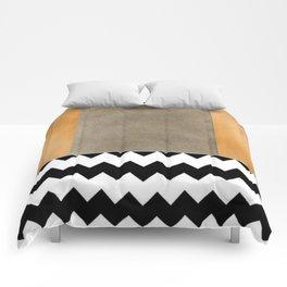 Shiny Copper Coffee Glaze And Black And White Chevron Pattern Comforters