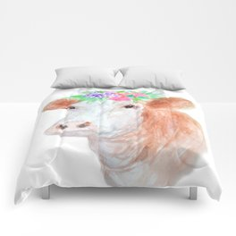 Flower Crown Cow Comforters