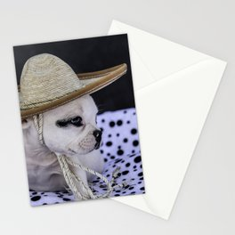 Tiny White French Bulldog Puppy with Black Markings Wearing an Oversize Sombrero Stationery Cards