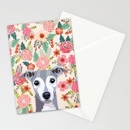 Italian Greyhound floral pet portrait wall art and gifts for dog breed lovers Stationery Cards