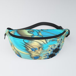 Wind Tunnels and Black Holes Fractal Blue and Yellow Fanny Pack