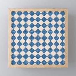 Rustic Checkerboard in Blue and Cream Framed Mini Art Print