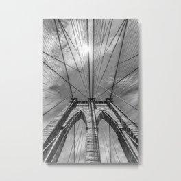 NEW YORK CITY Brooklyn Bridge in Detail | monochrome Metal Print